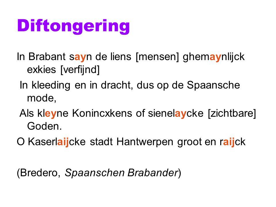 Diftongering In Brabant sayn de liens [mensen] ghemaynlijck exkies [verfijnd] In kleeding en in dracht, dus op de Spaansche mode,